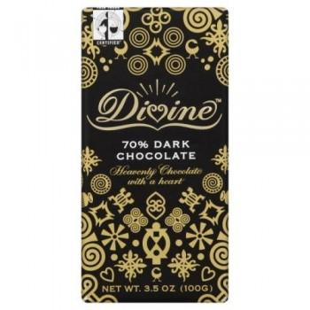 Divine Chocolate 70% Cocoa Dark Chocolate Bar (10x3.5 Oz)