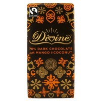 Divine Chocolate 70% Dark Chocolate With Mango And Coconut Bar (10x3.5 OZ)