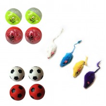Iconic Pet - Fur Mice Plastic Ball & Bouncing Ball - Set of 3
