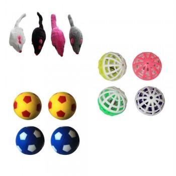 Iconic Pet Plush Mice Plastic Ball & Bouncing Ball - Set of 3