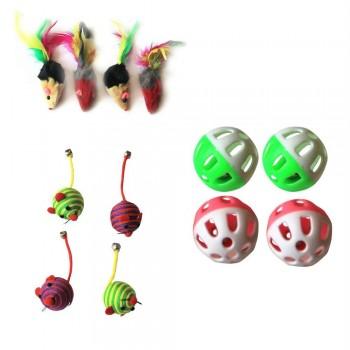 Iconic Pet - Fur Mice Nylon Rope Ball & Plastic Ball - Set of 3