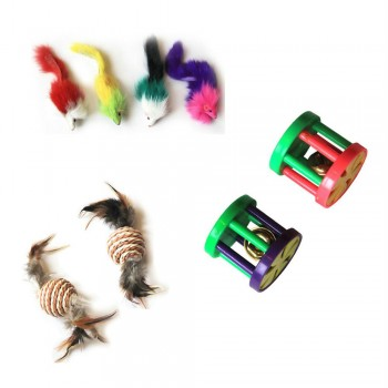 Iconic Pet - Fur Mice Paper Rope Ball & Plastic Roller - Set of 3