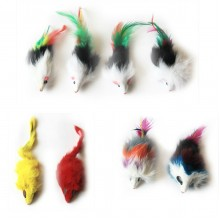 Iconic Pet - Long Hair Fur Mice - 8 Pieces - Assorted