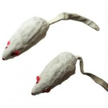 Iconic Pet Short Hair Fur Mice - Large - 2 Pack - White