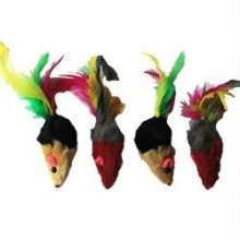 Iconic Pet - Two-Tone Short Hair Fur Mice With Feather Tail - 4 Pack - Assorted