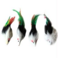Iconic Pet - Two-Tone Long Hair Fur Mice With Feather Tail - 4 Pack - Assorted