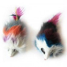Iconic Pet Multi-Colored Long Hair Fur Mice - 2 Pack - Assorted