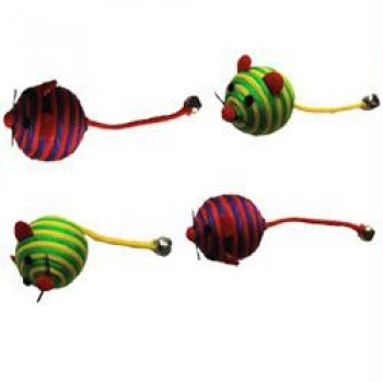 Iconic Pet Nylon Rope Fun Ball - 4 Pack - Assorted