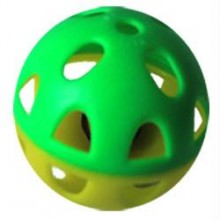 Iconic Pet - Two-Tone Plastic Ball With Bell - 1 Pack - Yellow/Green Pattern