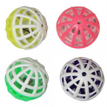 Iconic Pet - Two-Tone Plastic Ball With Bell - 4 Pack - Assorted
