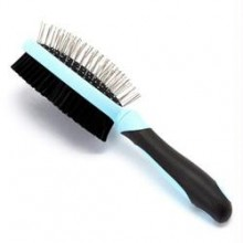 Iconic Pet Double Sided Brush (Bristle & Hard Pin) - Blue