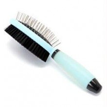 Iconic Pet Double Sided Brush with Silica Gel Soft Handle (Bristle & Hard Pin) - Blue