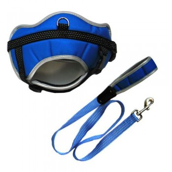 Reflective Adjustable Harness with Leash - Blue - Small