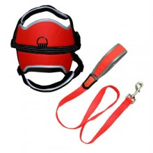 Reflective Adjustable Harness with Leash - Orange - Medium