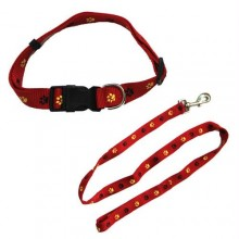 Paw Print Adjustable Collar with Leash - Red - Large