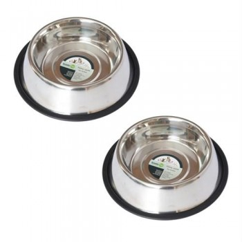 2 Pack Stainless Steel Non-Skid Pet Bowl for Dog or Cat - 96oz - 12 cup