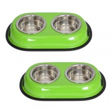 2 Pack Color Splash Stainless Steel Double Diner (Green) for Dog/Cat - 1 Qt - 32oz - 4 cup