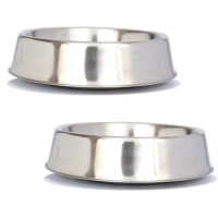 2 Pack Anti Ant Stainless Steel Non Skid Pet Bowl for Dog or Cat - 8oz - 1 cup