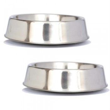 2 Pack Anti Ant Stainless Steel Non Skid Pet Bowl for Dog or Cat - 16oz - 2 cup