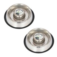 2 Pack Slow Feed Stainless Steel Pet Bowl for Dog or Cat - Small - 12oz