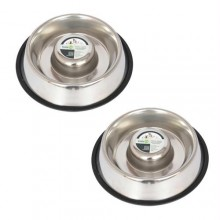 2 Pack Slow Feed Stainless Steel Pet Bowl for Dog or Cat - Large - 48oz