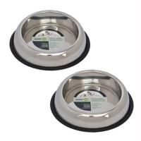 2 Pack Heavy Weight Non-Skid Easy Feed High Back Pet Bowl for Dog or Cat - 16oz - 2 cup