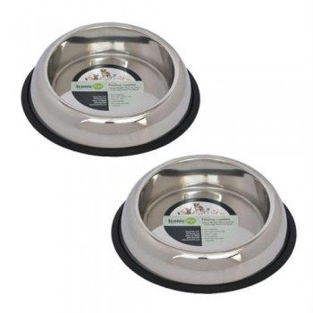 2 Pack Heavy Weight Non-Skid Easy Feed High Back Pet Bowl for Dog or Cat - 96oz - 12 cup