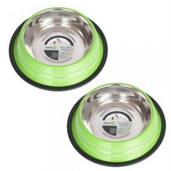 2 Pack Color Splash Stripe Non-Skid Pet Bowl for Dog or Cat - Green - 16oz - 2 cup