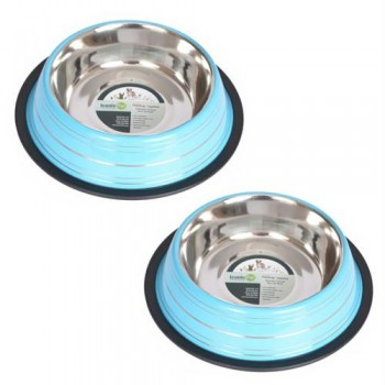 2 Pack Color Splash Stripe Non-Skid Pet Bowl for Dog or Cat - Blue - 16oz - 2 cup