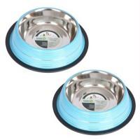 2 Pack Color Splash Stripe Non-Skid Pet Bowl for Dog or Cat - Blue - 32oz - 4 cup