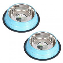 2 Pack Color Splash Stripe Non-Skid Pet Bowl for Dog or Cat - Blue - 32oz - 4 cup