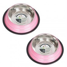 2 Pack Color Splash Stripe Non-Skid Pet Bowl for Dog or Cat - Pink - 16oz - 2 cup