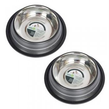 2 Pack Color Splash Stripe Non-Skid Pet Bowl for Dog or Cat - Black - 16oz - 2 cup