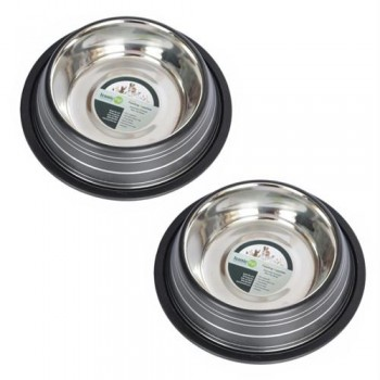 2 Pack Color Splash Stripe Non-Skid Pet Bowl for Dog or Cat - Black - 24oz - 3 cup