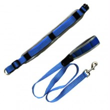 Reflective Adjustable Collar with Leash - Blue - Small