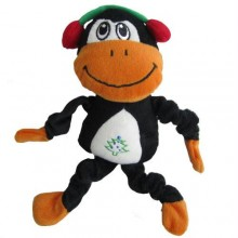Iconic Pet Christmas Monkey Holiday Plush Stuffed Squeaky Pet (Dog) Toy