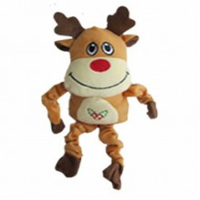 Iconic Pet Christmas Reindeer Stuffed Plush Squeaky Holiday Pet (Dog) Toy