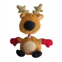 Iconic Pet Christmas Reindeer Rope/Squeaky Stuffed Plush Holiday Pet (Dog) Toy