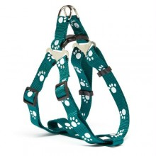 Iconic Pet Paw Print Adjustable Harness - Green - Xsmall