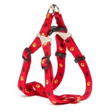 Iconic Pet Paw Print Adjustable Harness - Red - Xsmall
