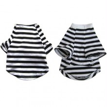 Iconic Pet - Pretty Pet Black and White Striped Top - Medium