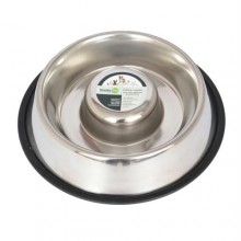 Iconic Pet Slow Feed Stainless Steel Pet Bowl for Dog or Cat - Small - 12oz