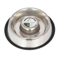 Iconic Pet Slow Feed Stainless Steel Pet Bowl for Dog or Cat - Medium - 24oz