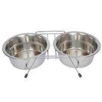 Iconic Pet Stainless Steel Double Diner with Wire Stand for Dog or Cat - 1/2 Pt - 8oz - 1 cup