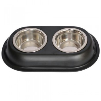 Iconic Pet Color Splash Stainless Steel Double Diner (Black) for Dog/Cat - 1 Pt - 16oz - 2 cup