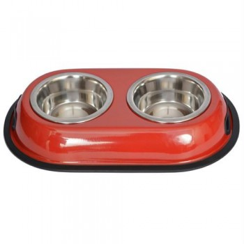 Iconic Pet Color Splash Stainless Steel Double Diner (Red) for Dog/Cat - 1/2 Pt - 8oz - 1 cup
