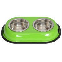 Iconic Pet Color Splash Stainless Steel Double Diner (Green) for Dog/Cat - 1 Qt - 32oz - 4 cup