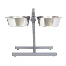Iconic Pet Adjustable Stainless Steel Pet Double Diner for Dog - 2 Qt - 64oz - 8 cup