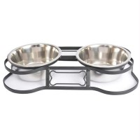 """Iconic Pet - Heavy Duty Pet Double Diner for Dog or Cat (Bone Design) - 1 Qt - 32oz т€"""" 4 cup"""