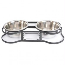 "Iconic Pet - Heavy Duty Pet Double Diner for Dog or Cat (Bone Design) - 1 Qt - 32oz т€"" 4 cup"
